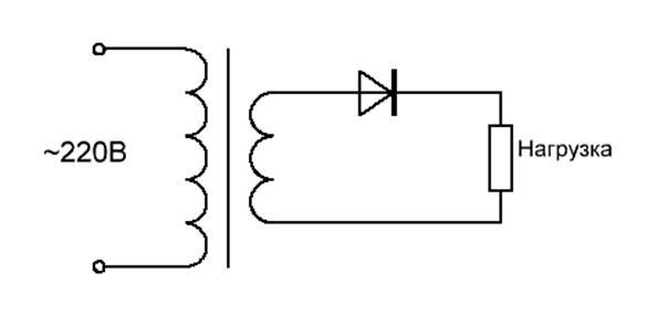 схема однополупериодного выпрямителя со сглаживающим фильтром